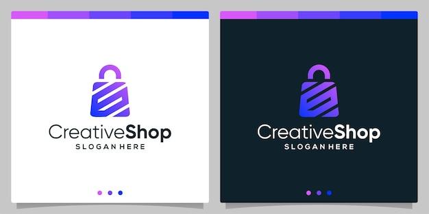 Resumo de sacola de compras de logotipo de design de modelo com a letra inicial do símbolo g. vetor premium