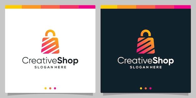 Resumo de sacola de compras de logotipo de design de modelo com a letra inicial do símbolo m. vetor premium