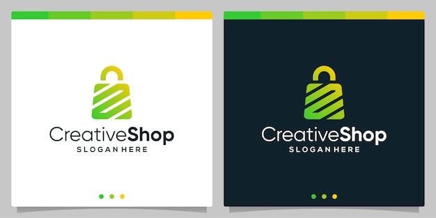 Resumo de sacola de compras de logotipo de design de modelo com a letra inicial do símbolo n. vetor premium