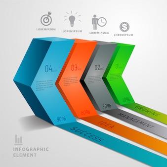 Resumo de seta 3d infográficos modernos