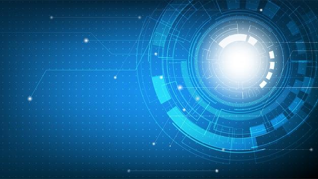 Resumo de tecnologia futurista em gradiente azul com placa de circuito