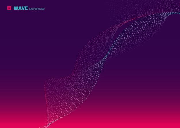 Resumo de tecnologia futurista rede design partícula rosa e azul brilhante ponto linha fluindo onda fundo roxo
