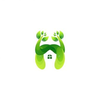 Resumo de vetor de design de logotipo de casa na árvore
