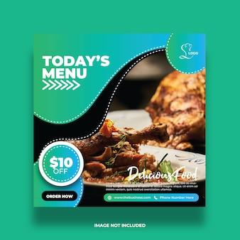 Resumo delicioso menu de hoje comida mídia social postar modelo de promoção colorida