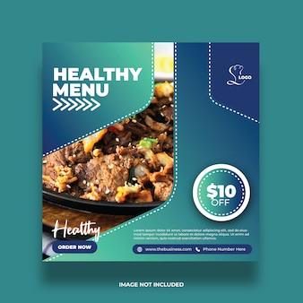 Resumo delicioso menu saudável comida mídia social postar modelo de promoção colorida