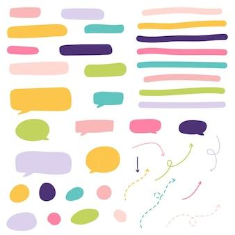 Resumo desenhado à mão para bolhas de discurso e marcadores de texto para infográficos e mídias sociais