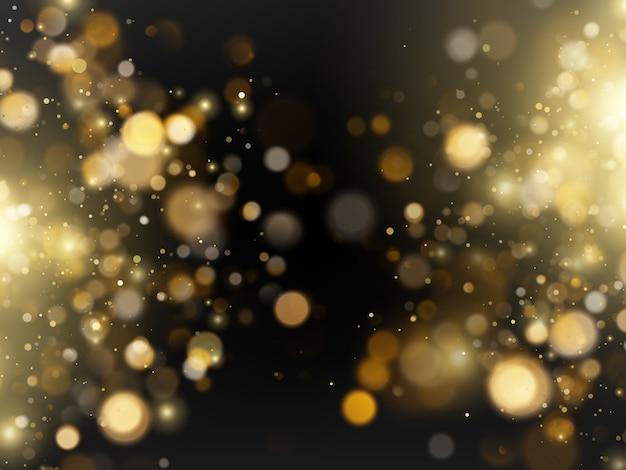 Resumo desfocado luxo brilho dourado brilhante bokeh luzes de fundo.