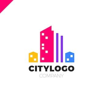 Resumo do conceito de construção do logotipo da cidade. ícone de símbolo de residencial, apartamento e paisagem da cidade.