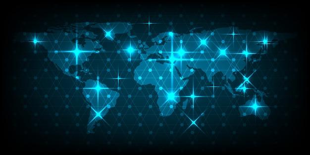 Resumo do conceito de rede de mapa do mundo de negócios globais