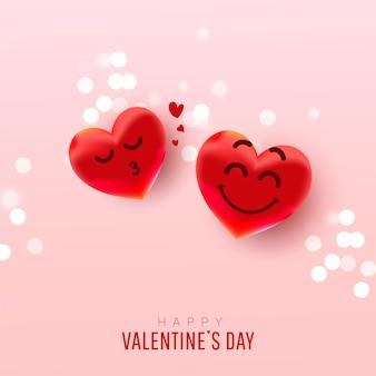 Resumo do dia dos namorados com balões em forma de coração com rostos bonitos dando um beijo no ar em uma rosa