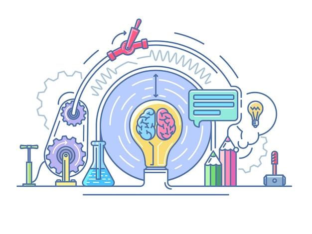 Resumo do laboratório de ideias. educação e pesquisa, laboratório científico.