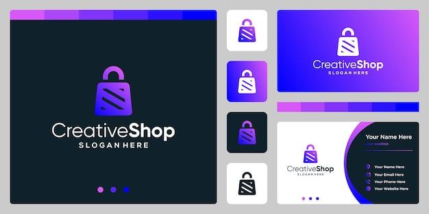 Resumo do saco de compras do logotipo do projeto do modelo com a letra do símbolo n. design de cartão de visita.
