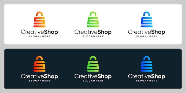 Resumo do saco de compras do logotipo do projeto do modelo da coleção com a letra inicial do símbolo. design de cartão de visita.