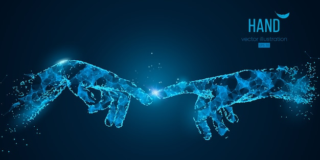 Resumo duas mãos tocando momentos de partículas, linhas e triângulos. tecnologia.