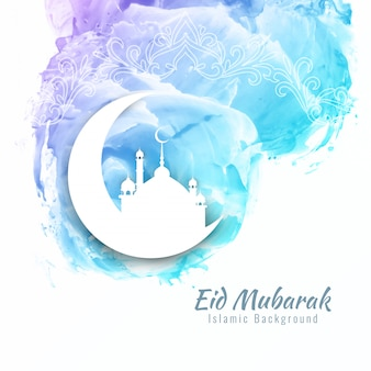 Resumo Eid Mubarak aquarela design de plano de fundo