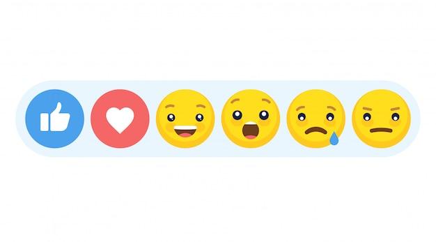 Resumo estilo plano engraçado emoji emoticon reações cor conjunto de ícones.