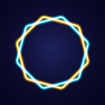 Resumo estrela forma luminosa neon contorno colorido ícone
