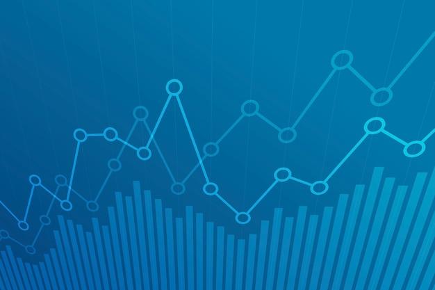 Resumo financeiro gráfico com gráfico de linha de tendência de alta