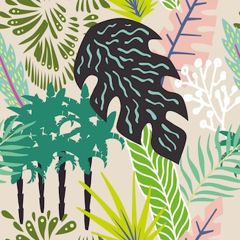 Resumo folhas e palmeiras sem costura padrão papel de parede