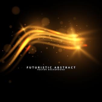Resumo futurista brilhante luz dourada raia