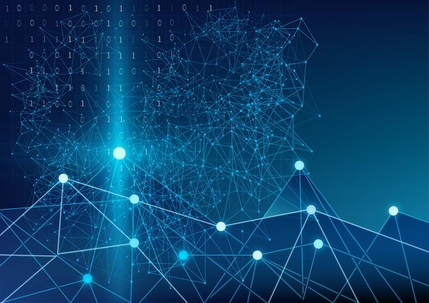 Resumo futurista de código binário geométrico e comunicação mundial
