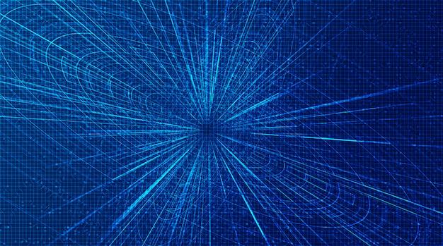 Resumo futurista hiperespaço velocidade movimento no futuro tecnologia, urdidura e expansão do conceito de movimento
