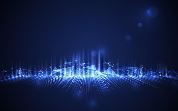 Resumo futurista sobre fundo azul.