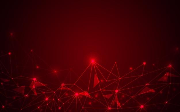 Resumo futurista sobre fundo vermelho.