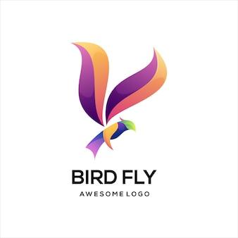 Resumo gradiente colorido do logotipo do pássaro águia