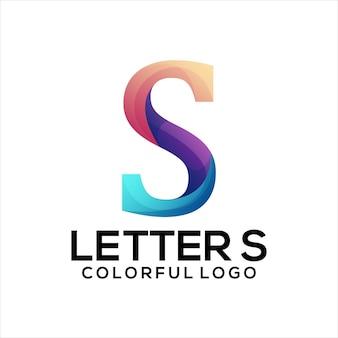 Resumo gradiente do logotipo colorido da letra s