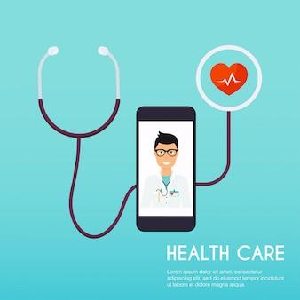 Resumo ícone médico com estetoscópio. conceito médico conceito de ilustração moderna de estilo.