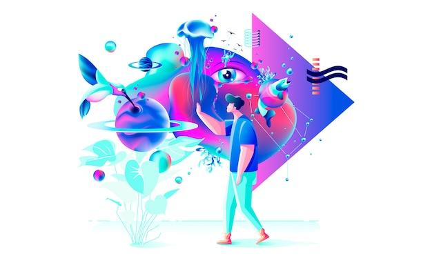 Resumo ilustração colorida xtreme tecnologia vr homem gamer cyberpower realidade virtual