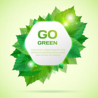 Resumo ir ilustração vetorial verde com folhas