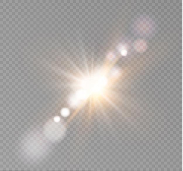 Resumo lente ouro frente solar flare transparente efeito de luz especial design.
