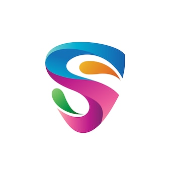 Resumo letra s em design de logotipo de forma de escudo