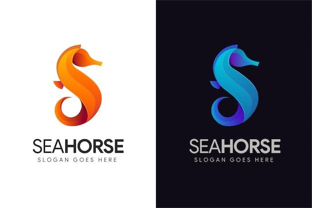 Resumo letra s para modelo de logotipo de cavalo-marinho