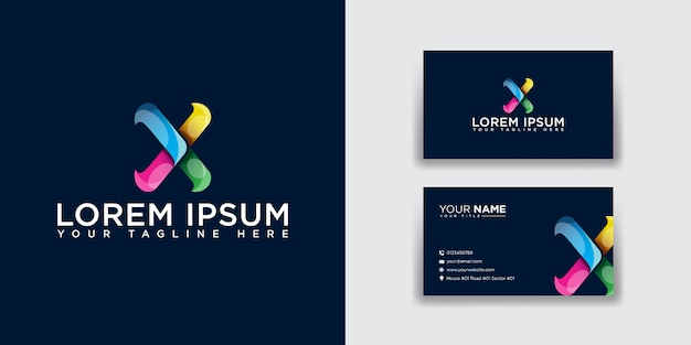 Resumo letra x logotipo com modelo de cartão