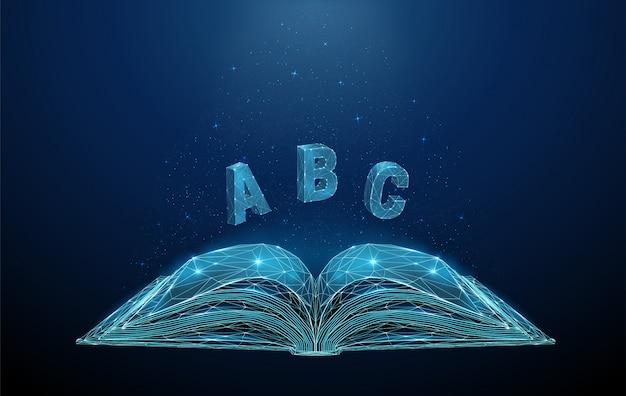 Resumo livro aberto com letras voadoras abc