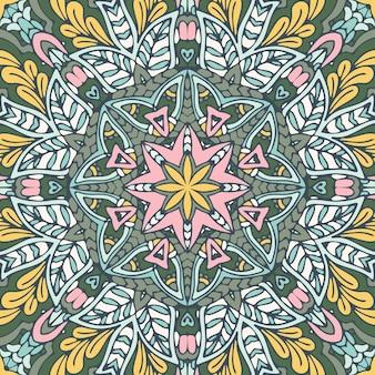 Resumo mandala vintage têxtil indiano étnico padrão sem emenda ornamental. design de superfície arabesco