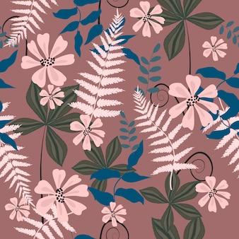Resumo mão desenhada flores padrão sem emenda