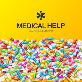 Resumo médico saudável com cápsulas coloridas, remédios, pílulas e ilustração de drogas