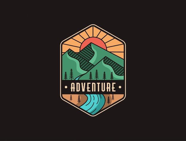Resumo minimalista montanha e rio paisagem aventura logotipo