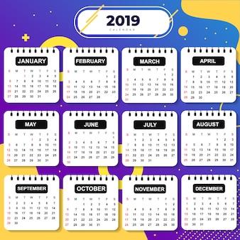 Resumo modelo calendário 2019 tema