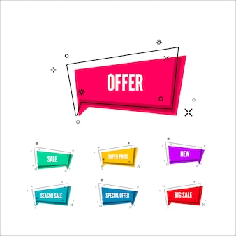 Resumo oferece banner. bolha colorida com texto de promoção. conjunto de modelo geométrico promocional. ilustração isolado no fundo branco