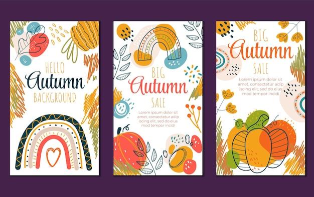 Resumo olá outono boho panfletos banners convite oferta especial modelo de design conjunto isolado