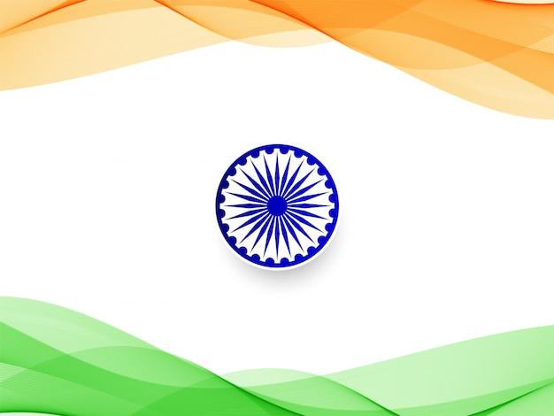 Resumo ondulado bandeira indiana design de fundo