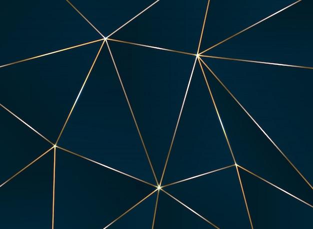 Resumo padrão pentagonal com padrão de luxo de linha dourada.