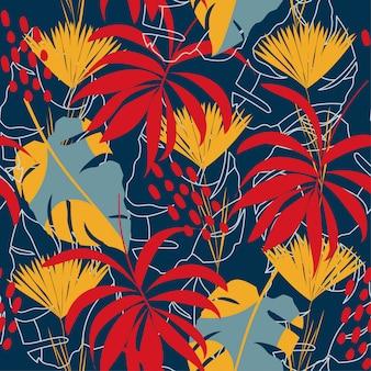 Resumo padrão sem emenda com folhas tropicais coloridas e plantas em fundo azul