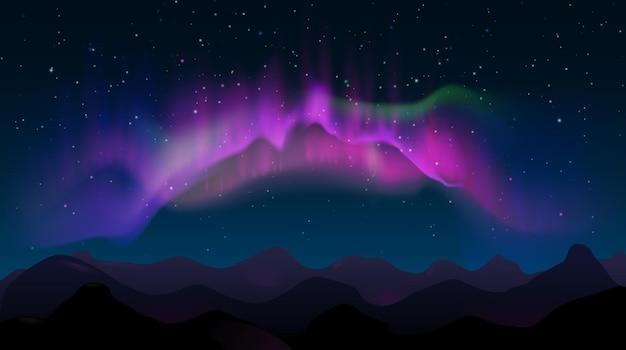 Resumo paisagem montanhosa noturna com aurora boreal e estrelas. luzes coloridas do norte no céu, ilustração vetorial de brilho natural polar