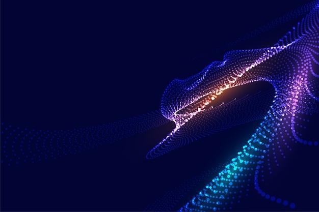 Resumo partículas malha brilhante design de fundo digital